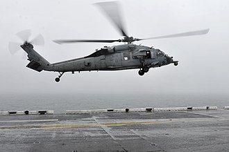 Sinking of MV Sewol - A U.S. Navy MH-60S Seahawk helicopter conducted search and rescue operations at the request of the South Korean navy near where Sewol sank, on 17 April 2014.