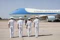 U.S. and Spanish military leaders renders honors to President Barack Obama as Air Force One arrives at Naval Station Rota (27609575483).jpg