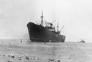 SS Edenton - USAT Irvin L. Hunt stranded in the Makassar Strait in 1941. The ship was refloated and served through the end of the war.