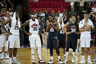 Paul George - Players on the USA Basketball Men's National Team react after their teammate Paul George suffered a serious leg injury during the fourth quarter of an intra-squad scrimmage at the Thomas and Mack Center in Las Vegas on August 1, 2014.