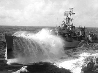 USS John Hood (DD-655) - John Hood being refueled in heavy seas, 1962.