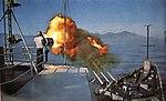 USS Oklahoma City (CLG-5) firing its 152 mm guns during a gunfire support mission off Vietnam, in 1965-1966.jpg