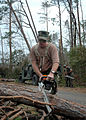 US Navy 050831-N-0553R-002 A U.S. Navy Seabee uses a chainsaw to remove fallen trees in Gulfport, Miss.jpg