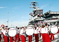 US Navy 051227-N-5946V-055 Members of the University of Oklahoma's Sooners marching band and cheer squad perform for crew members aboard the aircraft carrier USS Nimitz (CVN 68).jpg