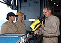 US Navy 060827-N-3557N-046 In the hangar bay aboard the amphibious assault ship USS Kearsarge (LHD 3), Congressman Mike Conaway-(R), 11th Congressional District of Texas, inspects a K-90 Talisman thermal imaging system.jpg