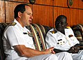US Navy 071120-N-8933S-006 Rear Adm. Tony Kurta, director for Policy, Resources and Strategy, U.S. Naval Forces Europe, and Ghanaian navy Commodore Matthew Quashie, Eastern Ghana Naval Command, meet with Africa Partnership Stat.jpg
