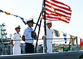 US Navy 080822-N-5033P-081 Sailors and a U.S. Coast Guardsman stand at parade rest aboard the patrol coastal ship USS Monsoon (PC 4) during the Inter-Service Transfer Ceremony.jpg