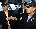 US Navy 080917-N-6604E-001 ecretary of the Navy the Honorable Dr. Donald C. Winter, left, discusses catapult operations with Japanese Ambassador to the United States Ichiro Fujisaki.jpg