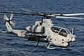 US Navy 100802-N-3852A-366 An AH-1Z Cobra helicopter assigned to Rotary Wing Aircraft Test Squadron (HX) 21, based in Patuxent River, Md., approaches the amphibious assault ship USS Wasp (LHD 1).jpg