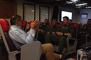 US Navy 120121-N-NC372-343 Secretary of Defense (SECDEF) Leon Panetta speaks to pilots assigned to the Checkmates of Strike Fighter Squadron (VFA).jpg