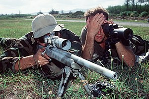 Spotting scope - A spotter uses a spotting scope to assist a marksman. Spotting scopes are used on target ranges to avoid walking to the target to verify the placement of hits.