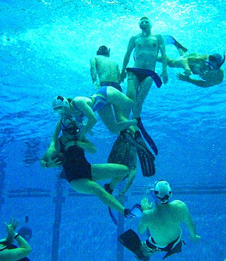 Underwater rugby - Defensive tackle during an underwater rugby match in Sydney, Australia