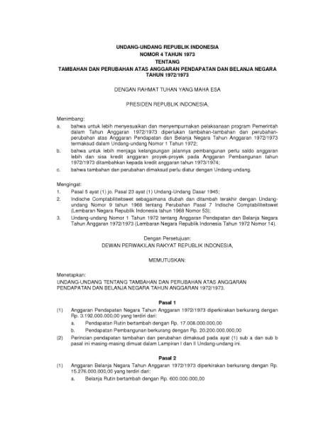 File:Undang-Undang Republik Indonesia Nomor 4 Tahun 1973.djvu