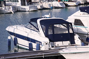 Bavaria Yachtbau - A Bavaria 35 Sport motorboat at the Les Minimes marina in La Rochelle, France.