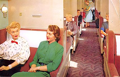 Open section accommodations of a Pullman car in day mode from c.1950s. Union Pacific Pullman car circa 1950s.JPG