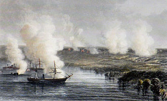 Battle of Malvern Hill - Union ships launching missiles onto the battlefield at Malvern Hill
