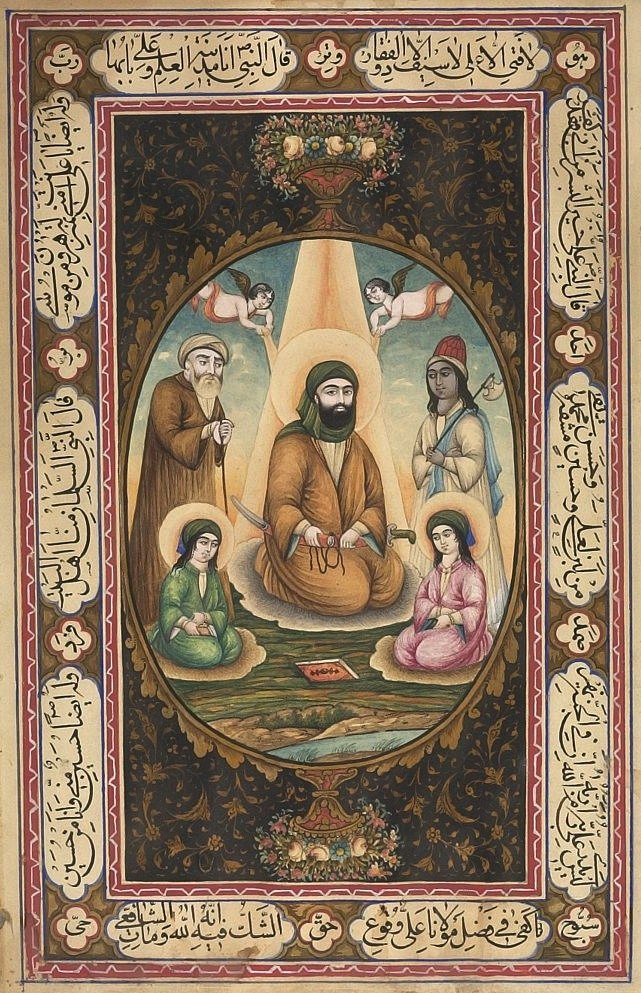 Unknown Artist Imam 'Ali with Hasan and Husayn Painting With Calligraphy Persian , 19th century