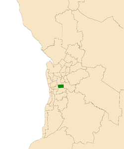 Map of Adelaide, South Australia with electoral district of Unley highlighted