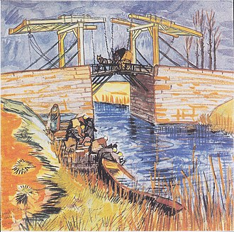 Langlois Bridge - Langlois Bridge at Arles, watercolor. 1888. Private collection (F1480)