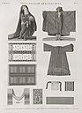Vases, meubles et instrumens. 1-3. Robe d'almé en soie rouge; 4. Borqo'ou voile; 5. Robe commune; 6-8. Couvertures en soie; 9. Ceinture; 10. Aiguille (NYPL b14212718-1268870).jpg
