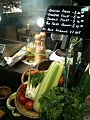 Vegetables on display at a seafood stall, Marché, 313@Somerset, Singapore - 20111128.jpg