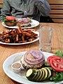 Veggie burger with fries cc flickr user heliosphan.jpg