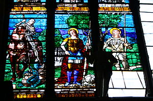 Girolamo Mocetto - St Theodore and SS John and Paul, stained glass panels from Santi Giovanni e Paolo, Venice, c. 1515