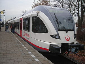 Public service obligation - A Veolia train in the Netherlands. Veolia has expanded rapidly based on winning many PSO contracts for bus and rail services in Europe