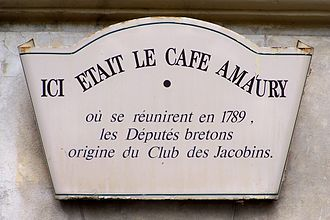 Club Breton - Plaque on the former place of the Café Amaury a Versailles