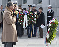 Vice Chairman of the Joint Chiefs of Staff Navy Adm. James A. Winnefeld Jr., second from left, and a Navy veteran render honors after placing a wreath at the Freedom Wall of the National World War II Memorial 121207-D-TT930-015.jpg