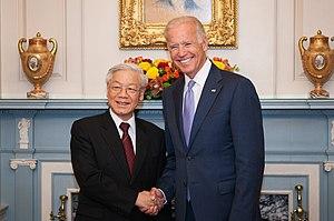 Nguyễn Phú Trọng - Trọng with U.S. Vice President Joe Biden, 7 July 2015