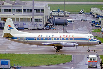 Air Inter - Air Inter Vickers Viscount at Paris Orly in 1973.