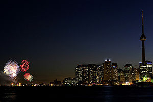 Monarchism in Canada - Fireworks at Toronto in 2008 celebrate Victoria Day, both the natural birthday of Queen Victoria and official birthday of the reigning Canadian monarch.