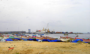 Kollam Port - A distant view of Kollam Port from Thangassery harbour