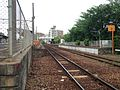 View of platform of Wajiro Station (JR) from crossing south of Wajiro Station.JPG
