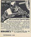 Vintage Advertising For A Wrist Lighter Cigarette Lighter, From Popular Mechanics Magazine, November 1952 (14527506793).jpg