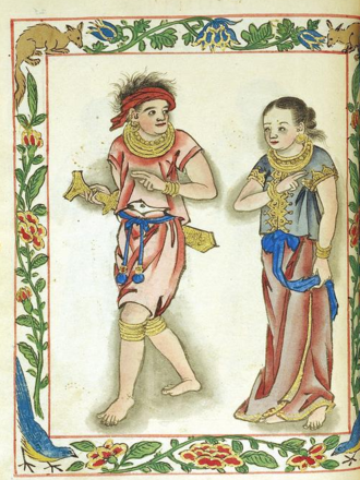 C. R. Boxer - Visayan kadatuan (royal) and his wife, wearing the distinctive color of his class (red), Boxer Codex.