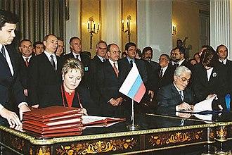 Valentina Matviyenko - Deputy Prime Minister Valentina Matviyenko signs joint documents in Greece on behalf of the Russian Federation while accompanying President Vladimir Putin.