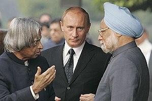 A. P. J. Abdul Kalam - Kalam along with Vladimir Putin and Manmohan Singh during his presidency