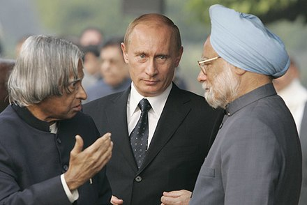 Kalam along with Vladimir Putin and Manmohan Singh during his presidency Vladimir Putin with Abdul Kalam 26 January 2007.jpg