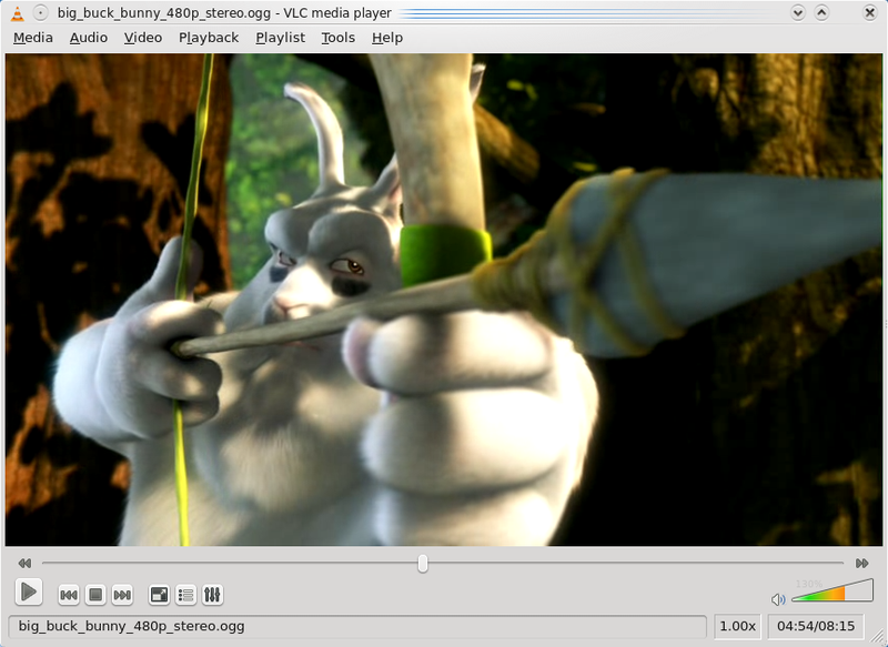 Vlc mediaplayer 0.9.8a runing on KDE 4.2.1 with fedora 10