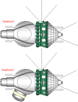 Voskhod (spacecraft) - Voskhod 1 and 2 spacecraft