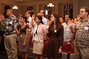 William S. Richardson School of Law - Richardson Students Reciting Law Student Pledge At Hawaii Supreme Court