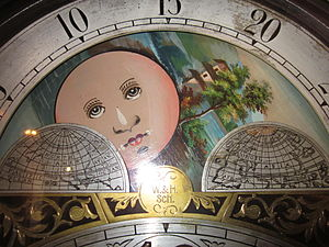 The face of a W & H Sch grandfather clock at t...