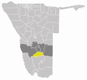 Gibeon Constituency - Gibeon Constituency (yellow) in the Hardap Region (dark grey)