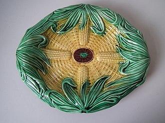 Victorian majolica - Image: Wedgwood corn platter coloured glazes on biscuit majolica 19452