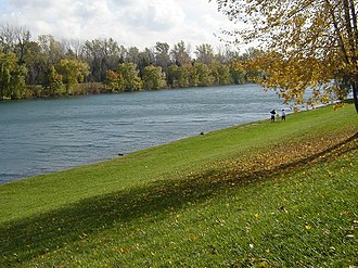 Welland Recreational Waterway - The Waterway's no-wake zone. Merritt Island with its path appear opposite the channel.