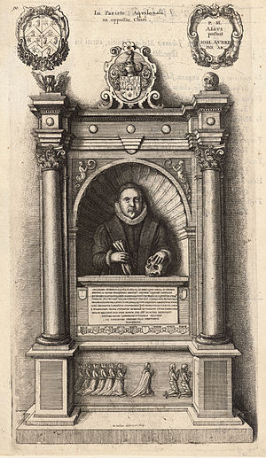 William Aubrey - Aubrey was buried in Old St Paul's Cathedral. This engraving of his monument is by Wenceslaus Hollar.