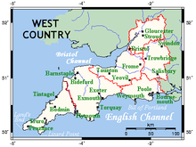 One interpretation of the West Country, shown on this map as identical to the South West region of England, incorporating the counties of Cornwall, Devon, Dorset,Somerset, Bristol, Wiltshire and Gloucestershire.