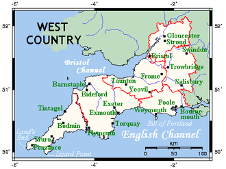 West Country - One interpretation of the West Country, shown on this map as identical to the South West region of England.